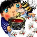 Niño pequeño que mira un abejorro grande Fotografía de archivo