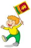 Niño pequeño que sostiene la bandera de Sri Lanka libre illustration