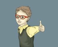 Niño pequeño sonriente bonito que muestra los pulgares del gesto para arriba Imágenes de archivo libres de regalías