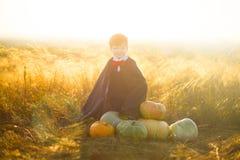 Niño pequeño vestido como Drácula con las calabazas para Halloween sobre fondo de la puesta del sol o de la salida del sol Fotografía de archivo libre de regalías