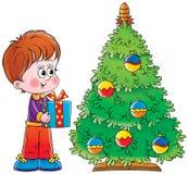 Niño pequeño y árbol de navidad ilustración del vector