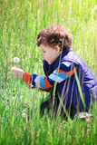 Niño pequeño y flor. Fotografía de archivo