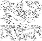 Niño pequeño y gansos salvajes Fotografía de archivo