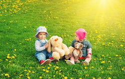 Niño pequeño y muchacha en los sombreros que se sientan en el campo con los juguetes suaves en verano Imagen de archivo libre de regalías