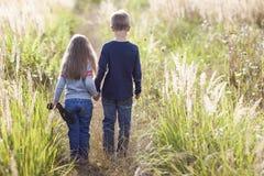 Niño pequeño y niña que se colocan que llevan a cabo las manos que miran en hor Fotografía de archivo libre de regalías