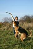 Niño pequeño y perro grande (pastor alemán). Imágenes de archivo libres de regalías