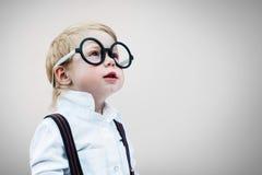 Niño Prodigy Grey Concept Back aislado a la escuela Fotos de archivo