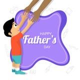 Niño que amplía sus brazos hacia su padre, ` feliz s del padre