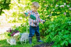 Niño que cava en el jardín Imagen de archivo libre de regalías