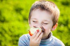 Niño que come las frutas Foto de archivo libre de regalías