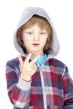 Niño que cuenta en los fingeres Fotos de archivo libres de regalías