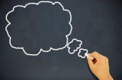 Niño que dibuja una burbuja del pensamiento Imagen de archivo