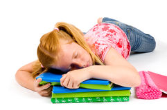 Niño que duerme mientras que trabaja en la preparación Fotografía de archivo