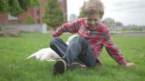 Niño que frota ligeramente y que abraza a su amigo del animal de animal doméstico Niño pequeño que juega con su perro en el parqu almacen de metraje de vídeo