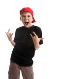Niño que hace la señal de mano de la coma Imagen de archivo