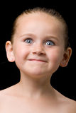 Niño que hace una cara Foto de archivo