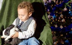 Niño que juega con un conejo Foto de archivo libre de regalías