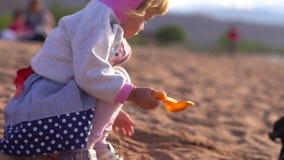 Niño que juega en la arena almacen de video