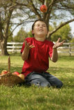 Niño que lanza para arriba una manzana Imagen de archivo libre de regalías