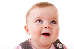Niño que mira para arriba y que ríe - aislado Imagen de archivo libre de regalías