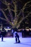 Niño que patina en el parque de Rathaus, Viena Fotos de archivo