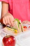 Niño que quita el bocadillo integral de la caja del almuerzo fotos de archivo libres de regalías