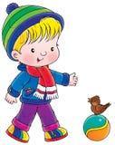 Niño que recorre stock de ilustración