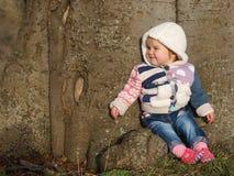 Niño que se sienta en árbol Imagen de archivo libre de regalías