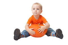 Niño que sostiene la calabaza Imagen de archivo