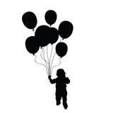 Niño que sostiene la silueta del vector de los globos en negro Imagenes de archivo