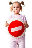 Niño que sostiene una almohadilla con la muestra de la parada Fotografía de archivo