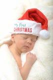 Niño recién nacido y la primera Navidad Fotografía de archivo libre de regalías