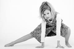 Niño rubio en blanco y negro Fotos de archivo