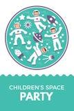 Niño s Rocket Birthday Party del ejemplo del vector Foto de archivo