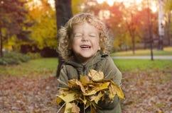 Niño sonriente adorable que juega con las hojas en parque imagen de archivo