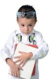 Niño sonriente en su primer día de escuela Fotografía de archivo libre de regalías