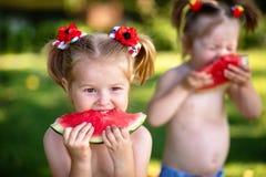 Niño sonriente feliz tres que come la sandía en parque Comida sana del verano fotos de archivo