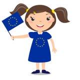 Niño sonriente, muchacha, sosteniendo una bandera de unión europea aislada en w stock de ilustración