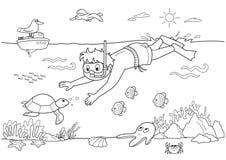 Niño subacuático ilustración del vector