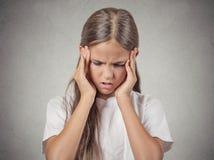 Niño subrayado, gir del adolescente Fotos de archivo