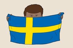 Niño sueco con la bandera stock de ilustración