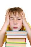 Niño triste con libros Imágenes de archivo libres de regalías