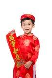 Niño vietnamita del muchacho que felicita con su Año Nuevo Lunar feliz Fotografía de archivo libre de regalías