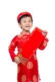 Niño vietnamita del muchacho que felicita con su Año Nuevo Lunar feliz Imagen de archivo
