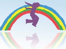 Niño y arco iris Fotografía de archivo