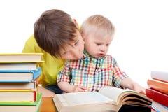 Niño y bebé con los libros Fotografía de archivo libre de regalías
