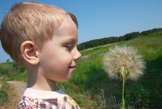 Niño y blowball grande Fotografía de archivo libre de regalías