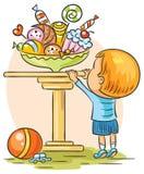 Niño y dulces ilustración del vector