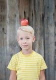 Niño y manzanas en el jardín Imagen de archivo libre de regalías