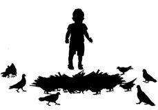 Niño y pájaros libre illustration